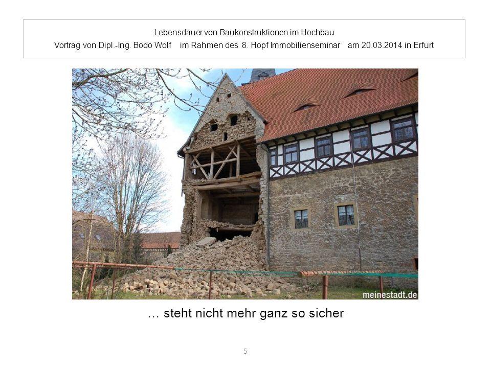 Lebensdauer von Baukonstruktionen im Hochbau. Vortrag von Dipl.-Ing. Bodo Wolf im Rahmen des 8. Hopf Immobilienseminar am 20.03.2014 in Erfurt … steht