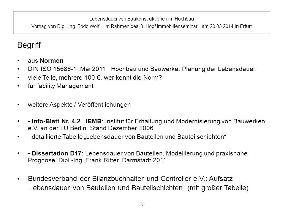 Lebensdauer von Baukonstruktionen im Hochbau. Vortrag von Dipl.-Ing. Bodo Wolf im Rahmen des 8. Hopf Immobilienseminar am 20.03.2014 in Erfurt Begriff
