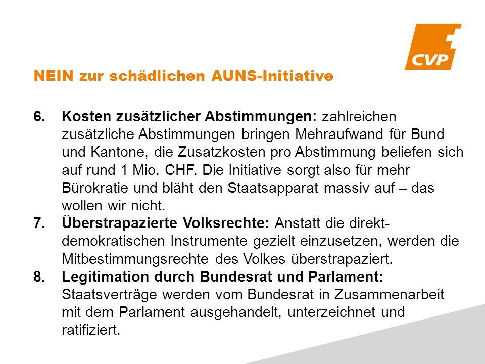6.Kosten zusätzlicher Abstimmungen: zahlreichen zusätzliche Abstimmungen bringen Mehraufwand für Bund und Kantone, die Zusatzkosten pro Abstimmung bel
