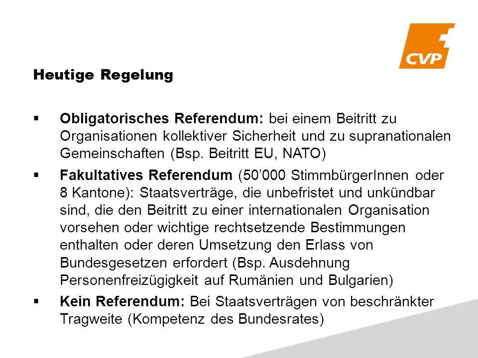 Heutige Regelung Obligatorisches Referendum: bei einem Beitritt zu Organisationen kollektiver Sicherheit und zu supranationalen Gemeinschaften (Bsp. B