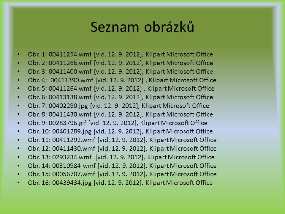 Seznam obrázků Obr. 1: 00411254.wmf [vid. 12. 9. 2012], Klipart Microsoft Office Obr. 2: 00411266.wmf [vid. 12. 9. 2012], Klipart Microsoft Office Obr