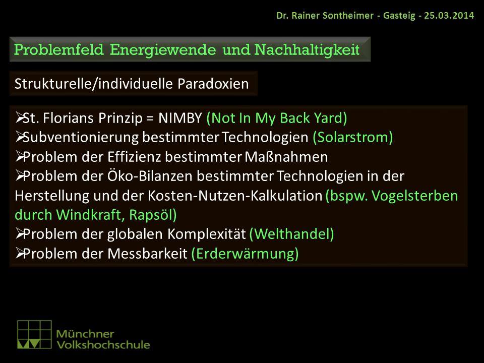 St. Florians Prinzip = NIMBY (Not In My Back Yard) Subventionierung bestimmter Technologien (Solarstrom) Problem der Effizienz bestimmter Maßnahmen Pr