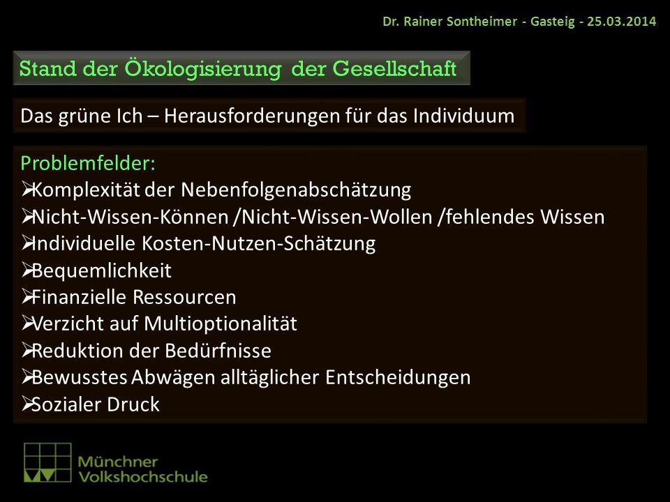 Stand der Ökologisierung der Gesellschaft Das grüne Ich – Herausforderungen für das Individuum Problemfelder: Komplexität der Nebenfolgenabschätzung N