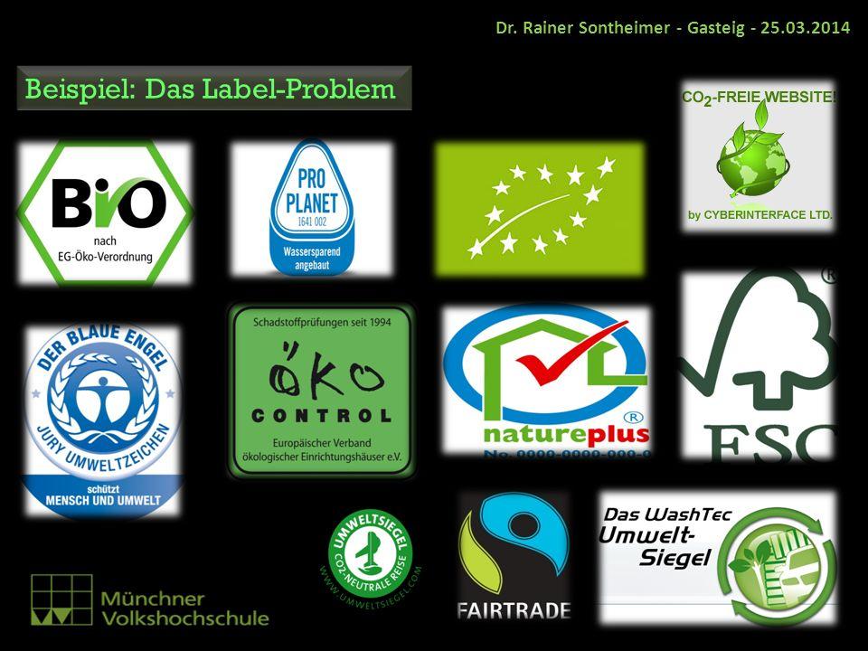 Beispiel: Das Label-Problem Dr. Rainer Sontheimer - Gasteig - 25.03.2014