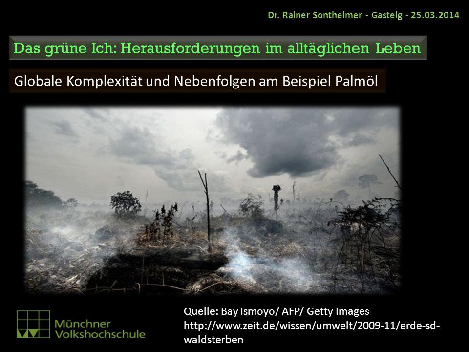 Globale Komplexität und Nebenfolgen am Beispiel Palmöl Dr. Rainer Sontheimer - Gasteig - 25.03.2014 Das grüne Ich: Herausforderungen im alltäglichen L