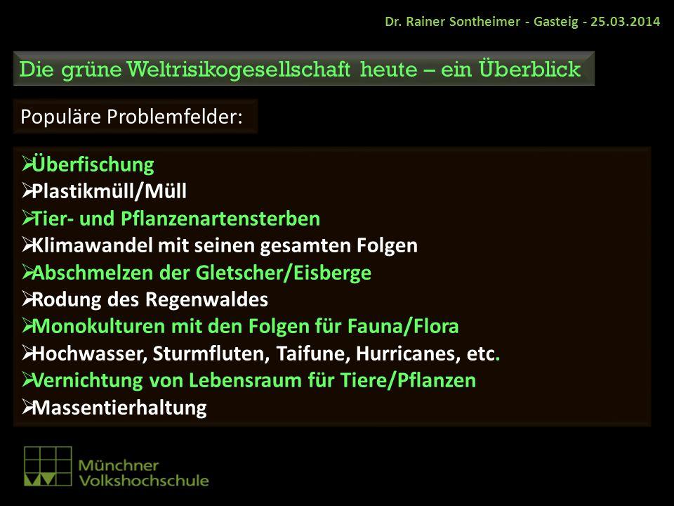 Dr. Rainer Sontheimer - Gasteig - 25.03.2014 Die grüne Weltrisikogesellschaft heute – ein Überblick Populäre Problemfelder: Überfischung Plastikmüll/M