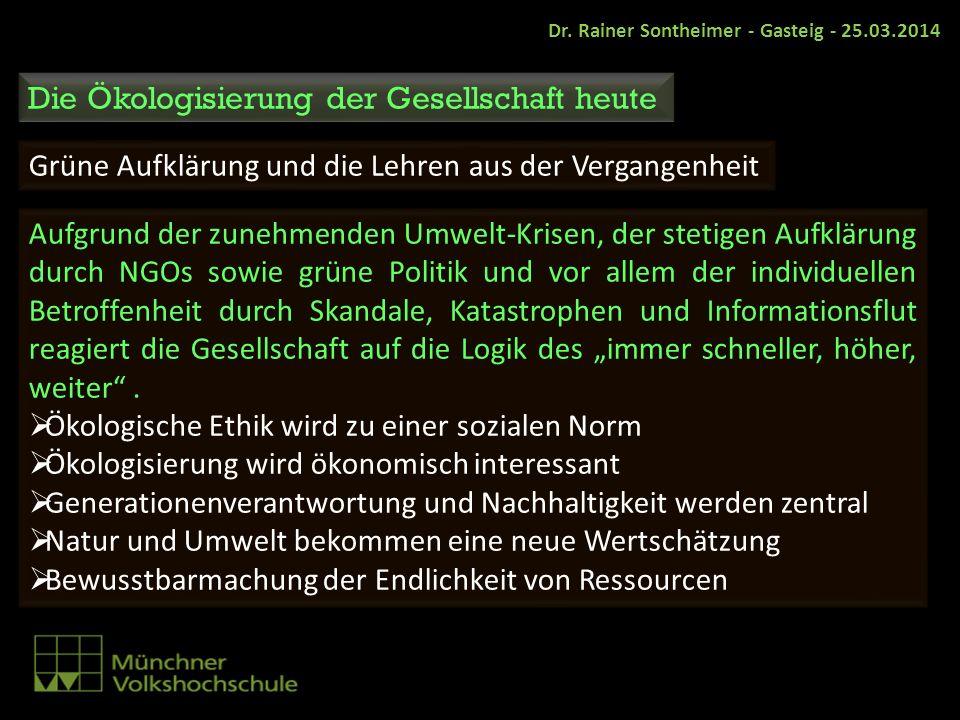 Dr. Rainer Sontheimer - Gasteig - 25.03.2014 Die Ökologisierung der Gesellschaft heute Grüne Aufklärung und die Lehren aus der Vergangenheit Aufgrund