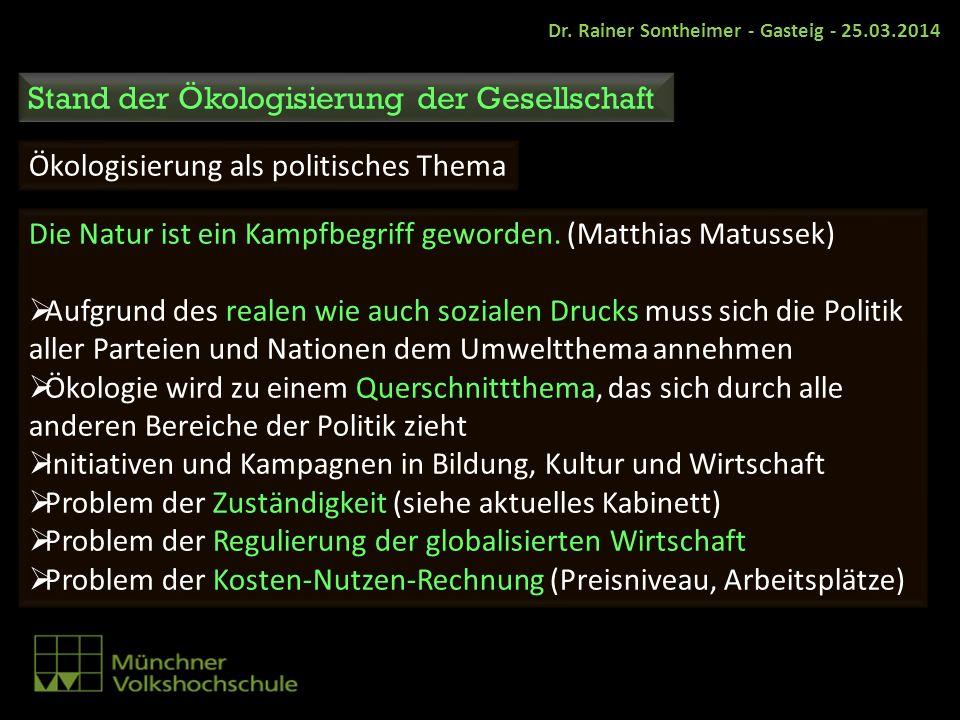 Dr. Rainer Sontheimer - Gasteig - 25.03.2014 Stand der Ökologisierung der Gesellschaft Ökologisierung als politisches Thema Die Natur ist ein Kampfbeg