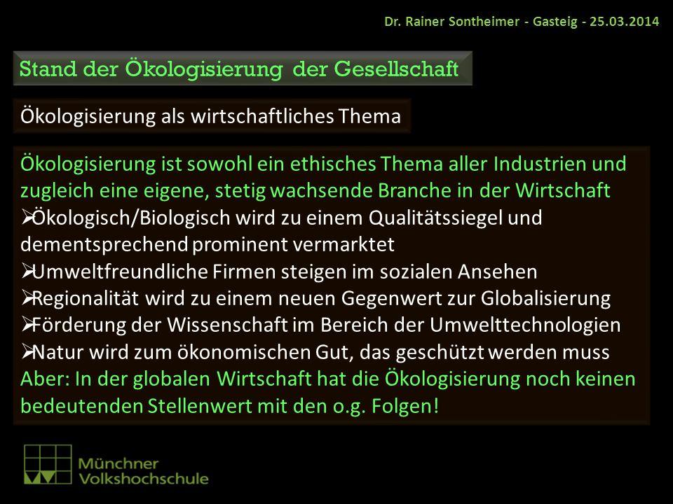 Dr. Rainer Sontheimer - Gasteig - 25.03.2014 Stand der Ökologisierung der Gesellschaft Ökologisierung als wirtschaftliches Thema Ökologisierung ist so