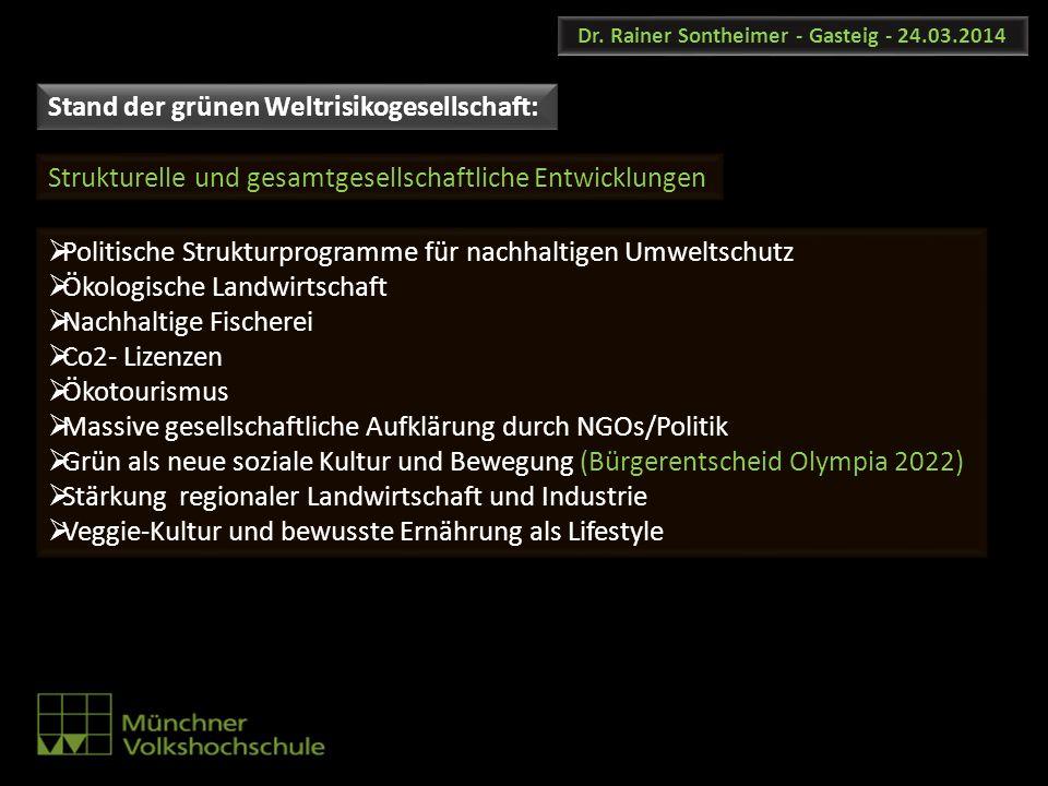 Dr. Rainer Sontheimer - Gasteig - 24.03.2014 Politische Strukturprogramme für nachhaltigen Umweltschutz Ökologische Landwirtschaft Nachhaltige Fischer