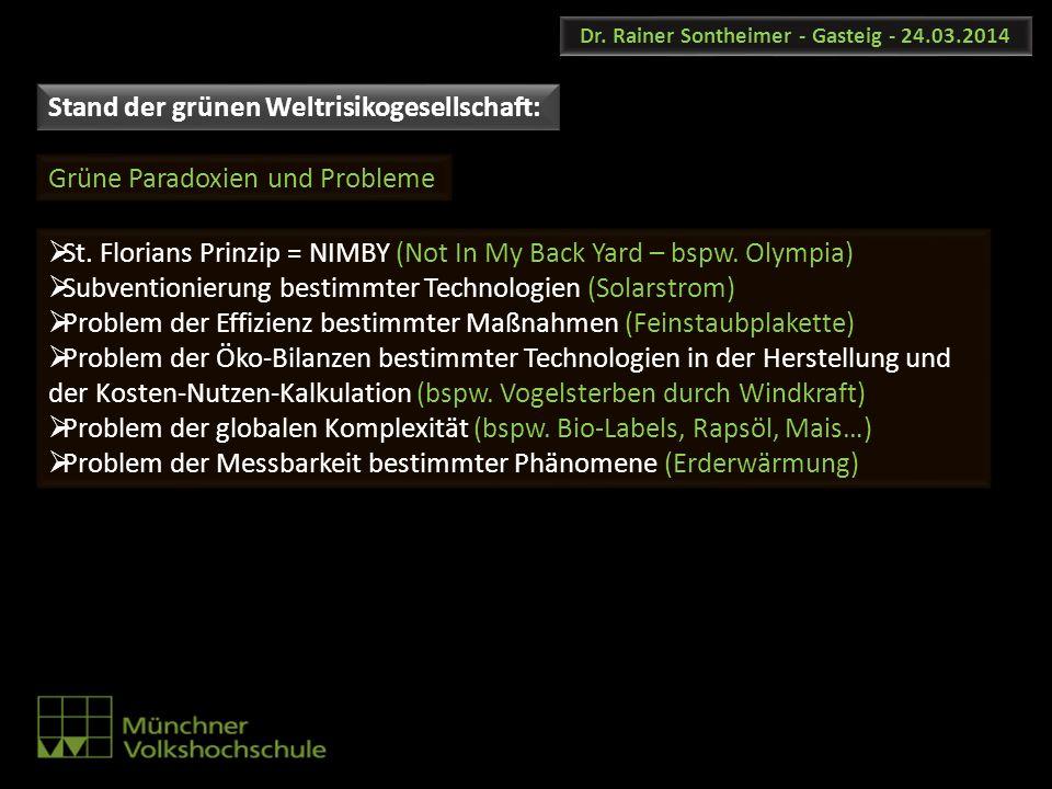 Dr. Rainer Sontheimer - Gasteig - 24.03.2014 St. Florians Prinzip = NIMBY (Not In My Back Yard – bspw. Olympia) Subventionierung bestimmter Technologi