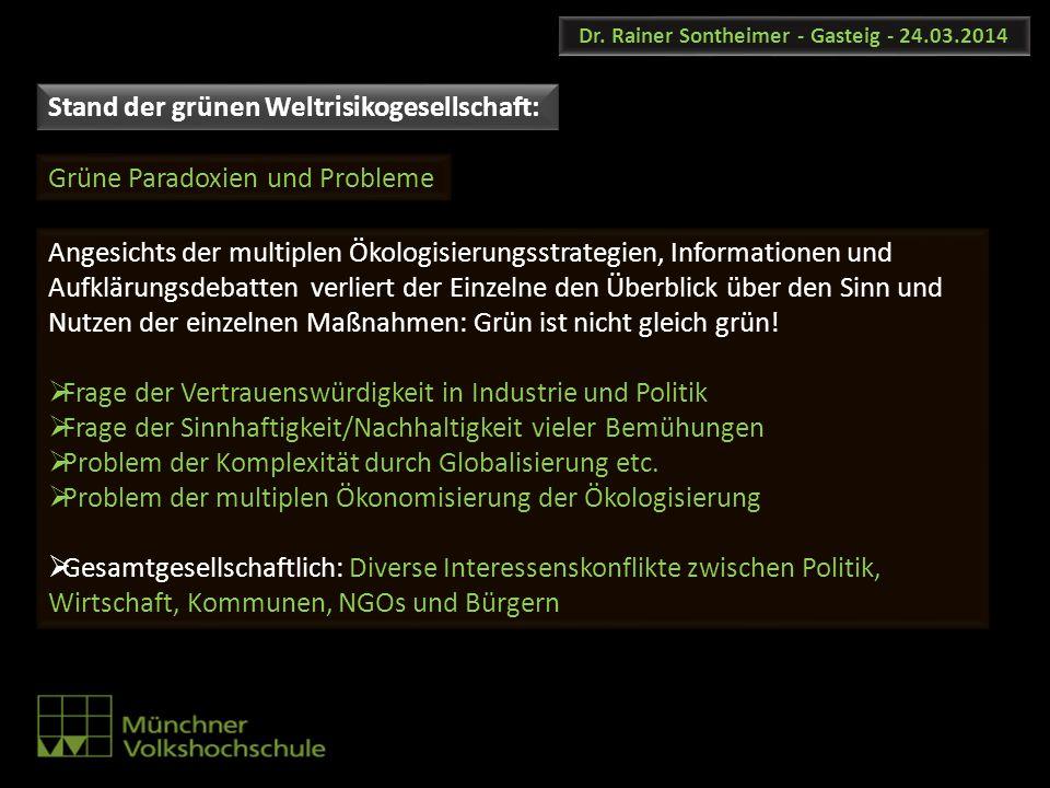 Dr. Rainer Sontheimer - Gasteig - 24.03.2014 Angesichts der multiplen Ökologisierungsstrategien, Informationen und Aufklärungsdebatten verliert der Ei
