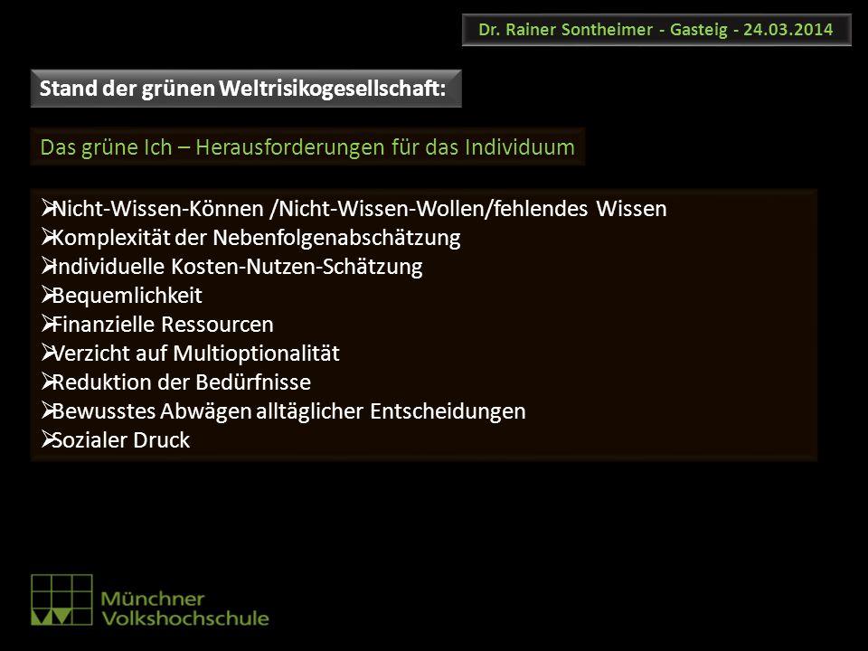 Dr. Rainer Sontheimer - Gasteig - 24.03.2014 Nicht-Wissen-Können /Nicht-Wissen-Wollen/fehlendes Wissen Komplexität der Nebenfolgenabschätzung Individu
