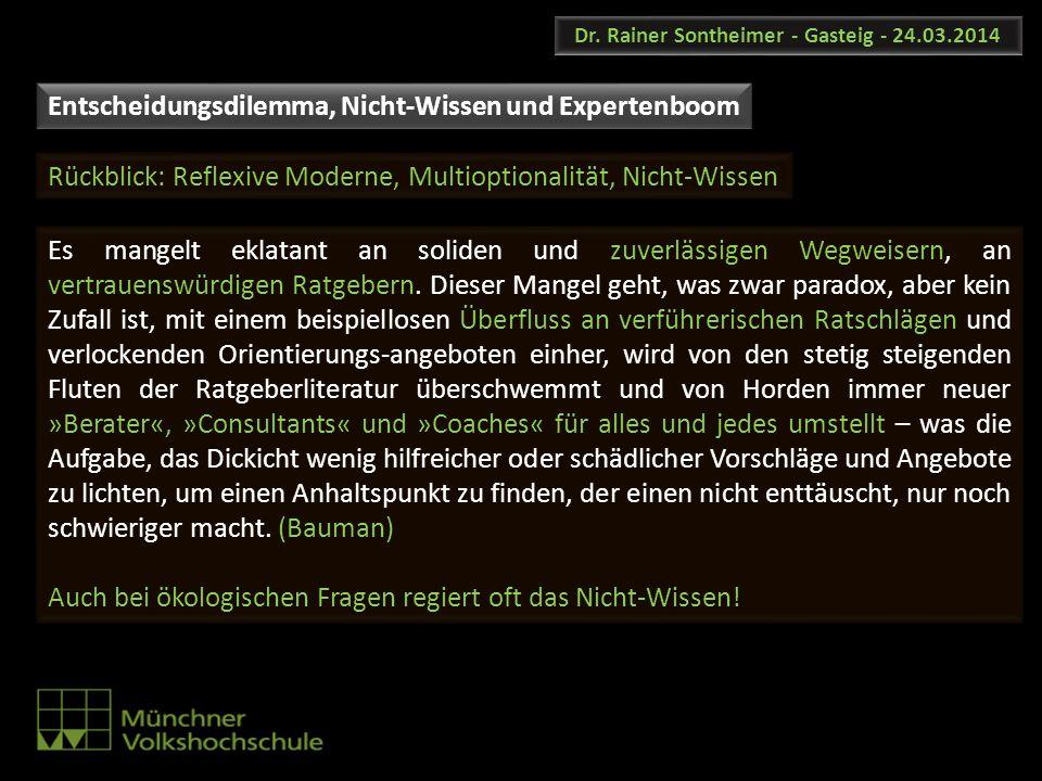 Dr. Rainer Sontheimer - Gasteig - 24.03.2014 Entscheidungsdilemma, Nicht-Wissen und Expertenboom Rückblick: Reflexive Moderne, Multioptionalität, Nich