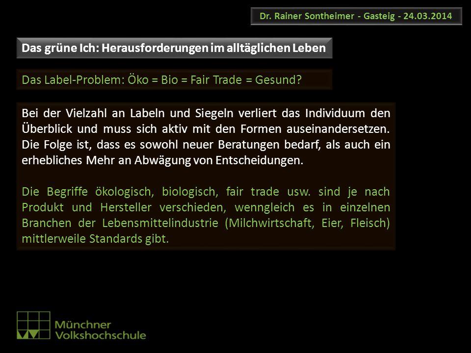 Dr. Rainer Sontheimer - Gasteig - 24.03.2014 Bei der Vielzahl an Labeln und Siegeln verliert das Individuum den Überblick und muss sich aktiv mit den