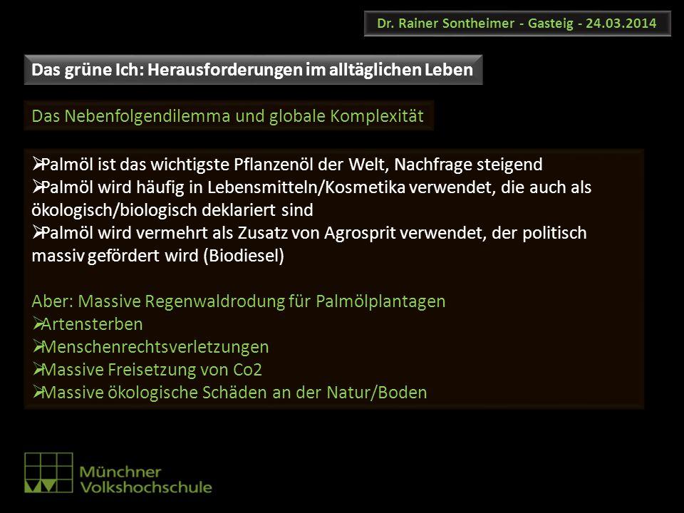 Dr. Rainer Sontheimer - Gasteig - 24.03.2014 Palmöl ist das wichtigste Pflanzenöl der Welt, Nachfrage steigend Palmöl wird häufig in Lebensmitteln/Kos