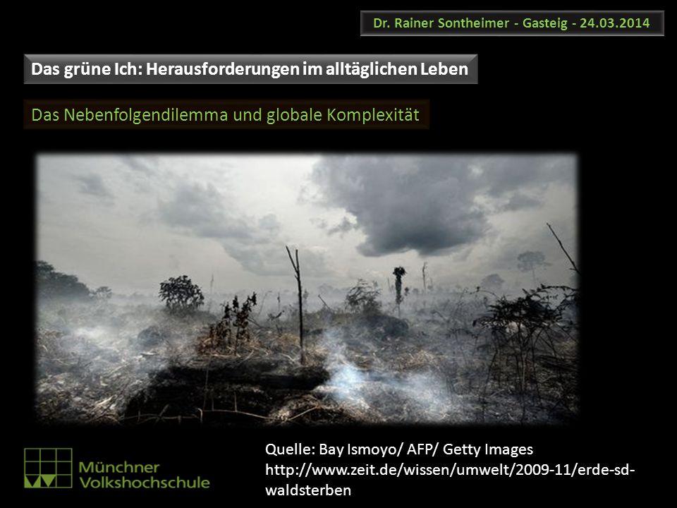Dr. Rainer Sontheimer - Gasteig - 24.03.2014 Das Nebenfolgendilemma und globale Komplexität Das grüne Ich: Herausforderungen im alltäglichen Leben Que