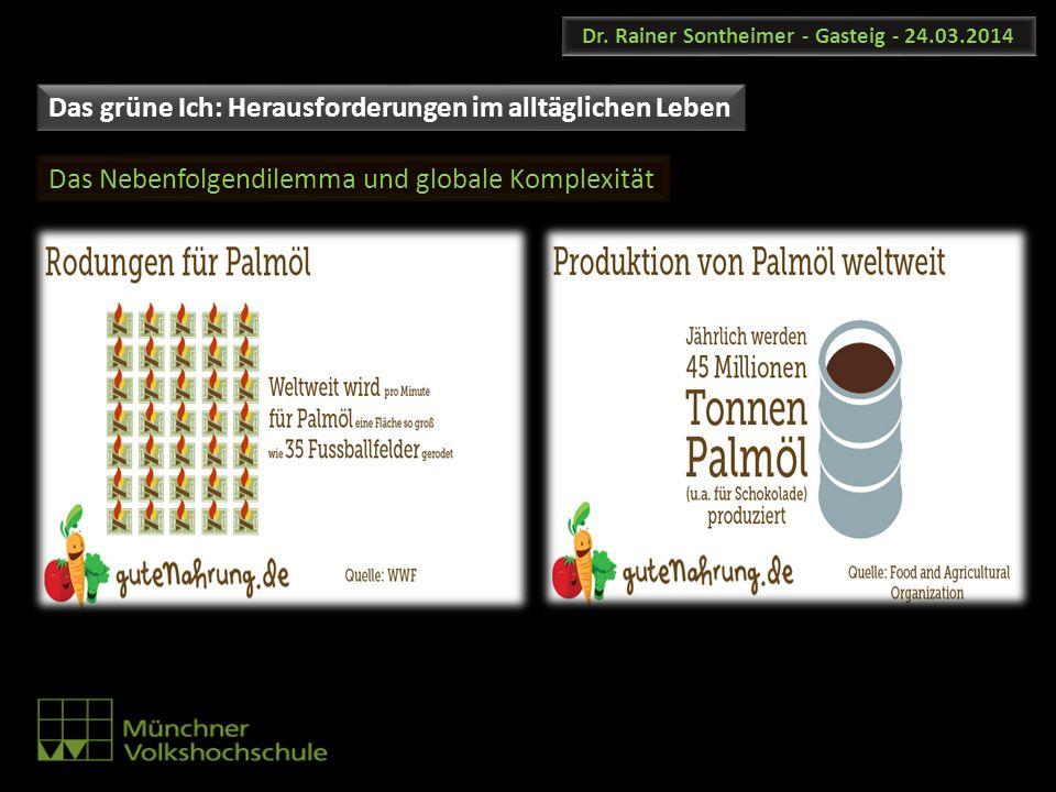 Dr. Rainer Sontheimer - Gasteig - 24.03.2014 Das Nebenfolgendilemma und globale Komplexität Das grüne Ich: Herausforderungen im alltäglichen Leben