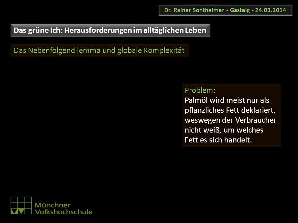 Dr. Rainer Sontheimer - Gasteig - 24.03.2014 Das Nebenfolgendilemma und globale Komplexität Problem: Palmöl wird meist nur als pflanzliches Fett dekla