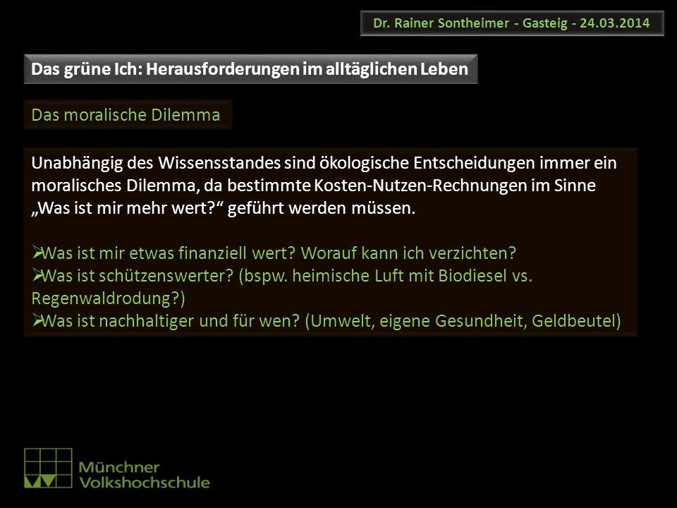 Dr. Rainer Sontheimer - Gasteig - 24.03.2014 Unabhängig des Wissensstandes sind ökologische Entscheidungen immer ein moralisches Dilemma, da bestimmte