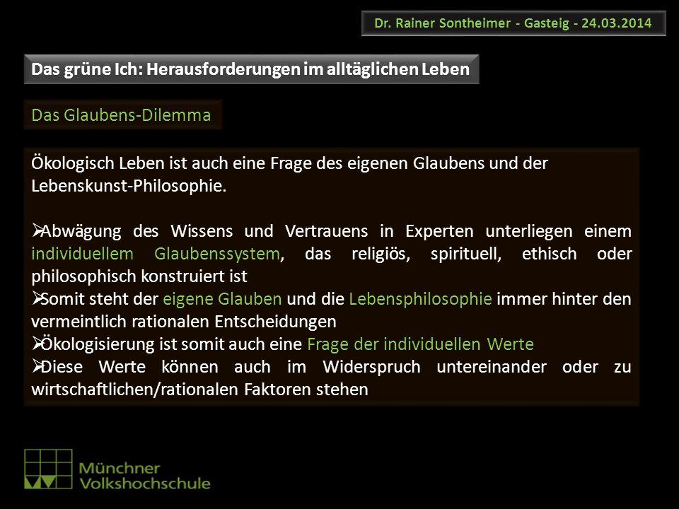 Dr. Rainer Sontheimer - Gasteig - 24.03.2014 Ökologisch Leben ist auch eine Frage des eigenen Glaubens und der Lebenskunst-Philosophie. Abwägung des W