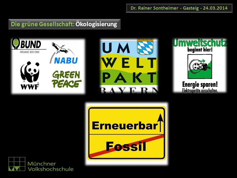 Dr. Rainer Sontheimer - Gasteig - 24.03.2014 Die grüne Gesellschaft: Ökologisierung