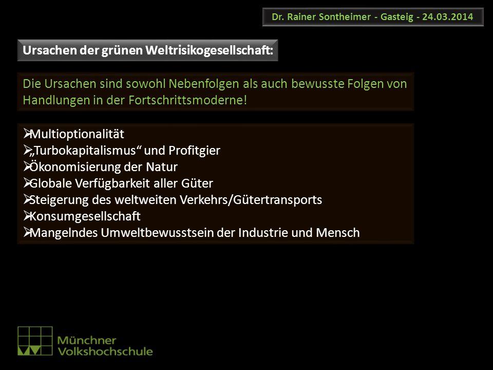 Dr. Rainer Sontheimer - Gasteig - 24.03.2014 Multioptionalität Turbokapitalismus und Profitgier Ökonomisierung der Natur Globale Verfügbarkeit aller G