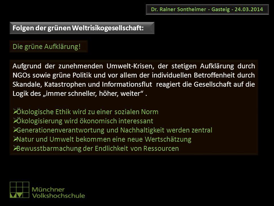 Dr. Rainer Sontheimer - Gasteig - 24.03.2014 Aufgrund der zunehmenden Umwelt-Krisen, der stetigen Aufklärung durch NGOs sowie grüne Politik und vor al