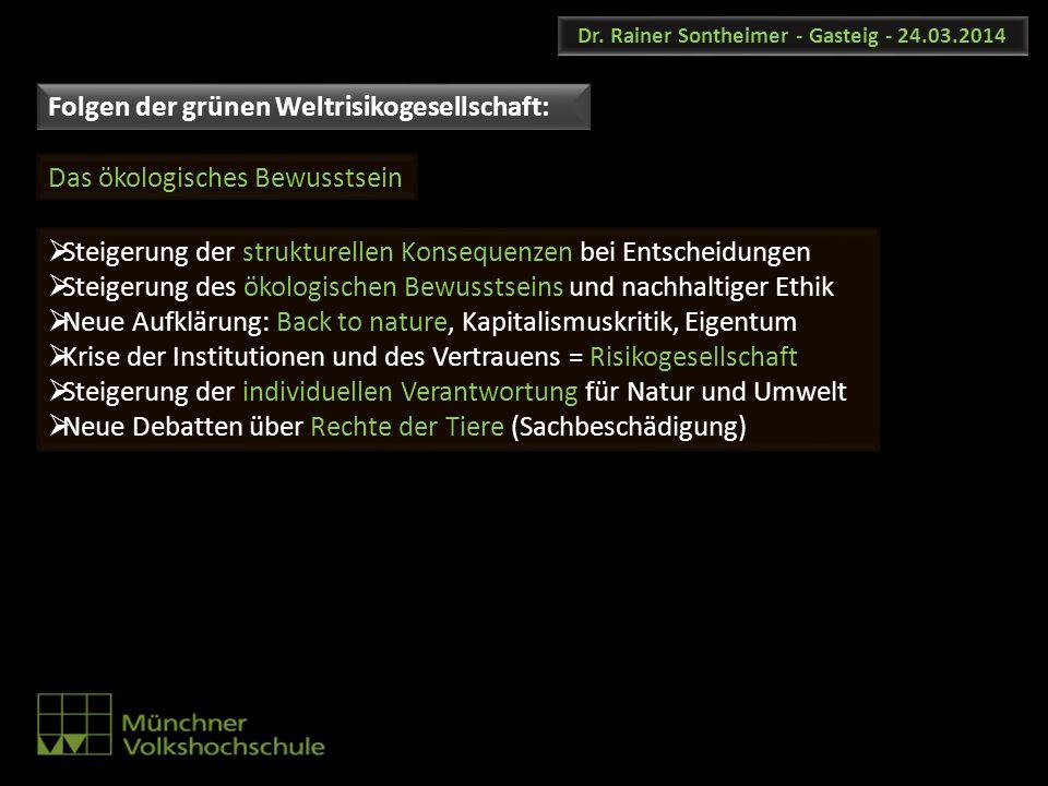 Dr. Rainer Sontheimer - Gasteig - 24.03.2014 Steigerung der strukturellen Konsequenzen bei Entscheidungen Steigerung des ökologischen Bewusstseins und