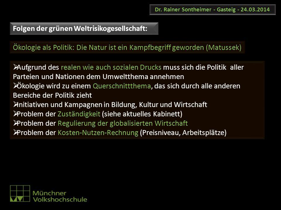 Dr. Rainer Sontheimer - Gasteig - 24.03.2014 Aufgrund des realen wie auch sozialen Drucks muss sich die Politik aller Parteien und Nationen dem Umwelt