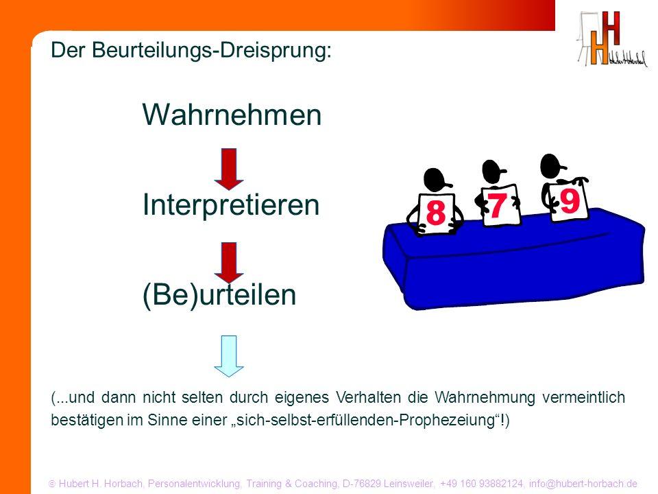 Hubert H. Horbach, Personalentwicklung, Training & Coaching, D-76829 Leinsweiler, +49 160 93882124, info@hubert-horbach.de Wahrnehmen Interpretieren (