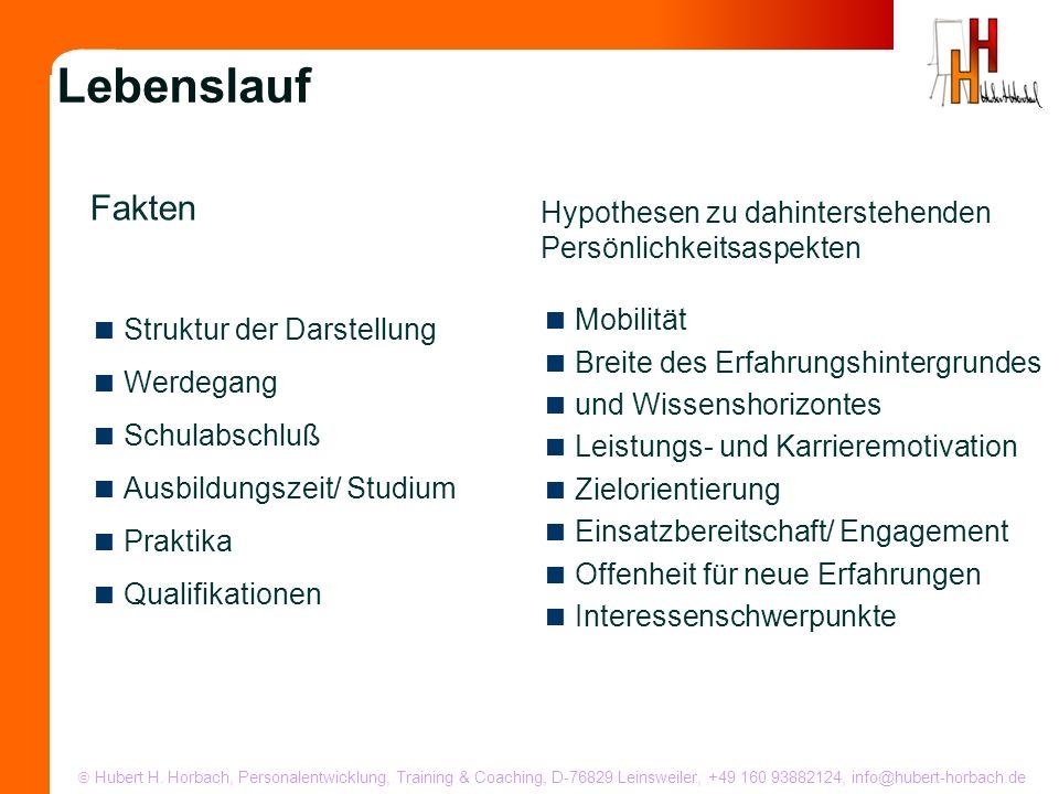 Struktur der Darstellung Werdegang Schulabschluß Ausbildungszeit/ Studium Praktika Qualifikationen Lebenslauf Mobilität Breite des Erfahrungshintergru