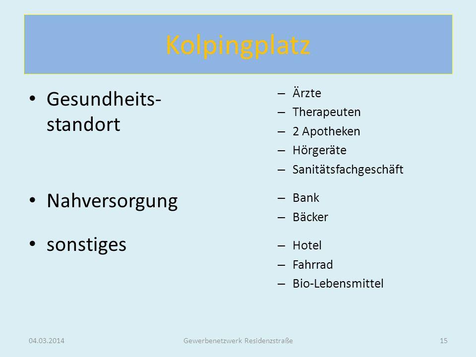 Kolpingplatz Gesundheits- standort Nahversorgung sonstiges 04.03.2014Gewerbenetzwerk Residenzstraße15 – Ärzte – Therapeuten – 2 Apotheken – Hörgeräte