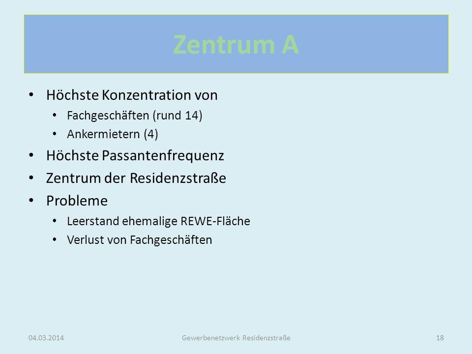 Zentrum A Höchste Konzentration von Fachgeschäften (rund 14) Ankermietern (4) Höchste Passantenfrequenz Zentrum der Residenzstraße Probleme Leerstand