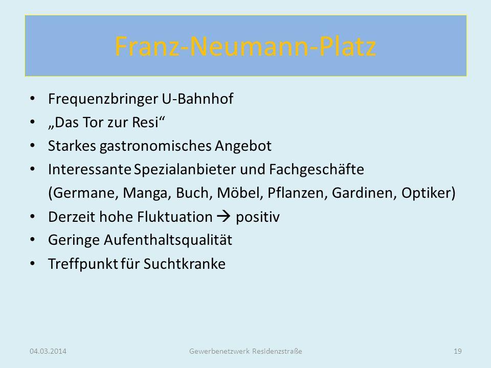 Franz-Neumann-Platz Frequenzbringer U-Bahnhof Das Tor zur Resi Starkes gastronomisches Angebot Interessante Spezialanbieter und Fachgeschäfte (Germane