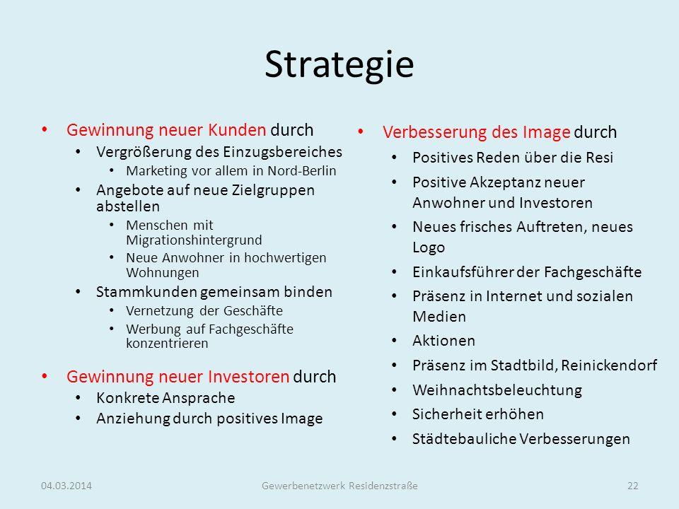 Strategie Gewinnung neuer Kunden durch Vergrößerung des Einzugsbereiches Marketing vor allem in Nord-Berlin Angebote auf neue Zielgruppen abstellen Me