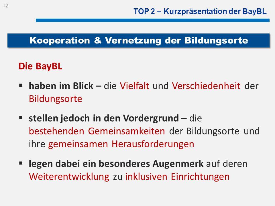 TOP 2 – Kurzpräsentation der BayBL Die BayBL haben im Blick – die Vielfalt und Verschiedenheit der Bildungsorte stellen jedoch in den Vordergrund – di