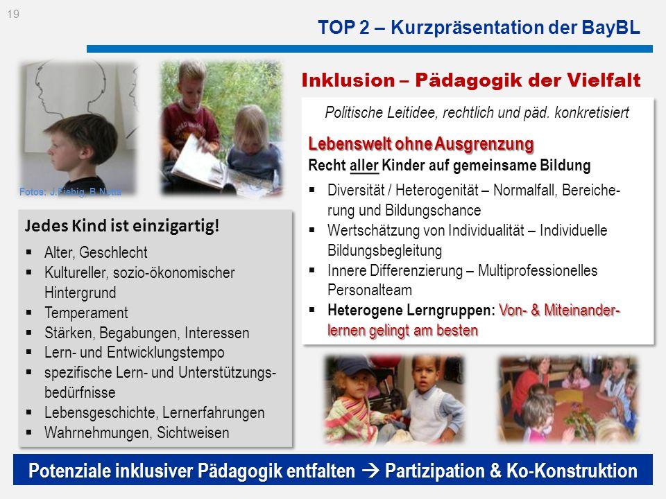 TOP 2 – Kurzpräsentation der BayBL Politische Leitidee, rechtlich und päd. konkretisiert Lebenswelt ohne Ausgrenzung Recht aller Kinder auf gemeinsame