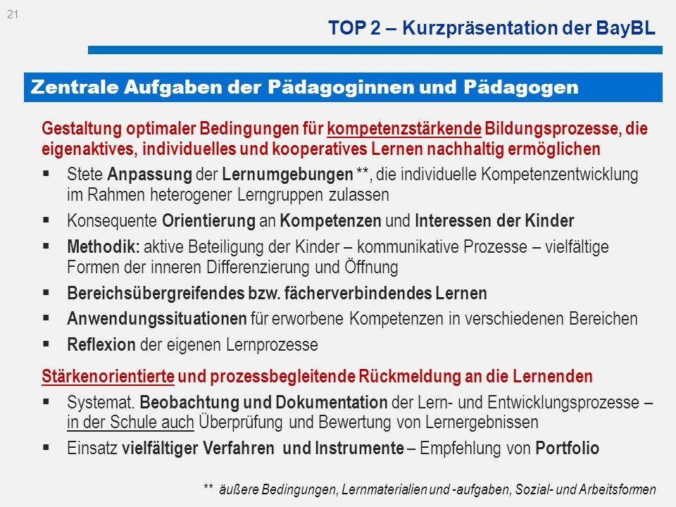 TOP 2 – Kurzpräsentation der BayBL Gestaltung optimaler Bedingungen für kompetenzstärkende Bildungsprozesse, die eigenaktives, individuelles und koope