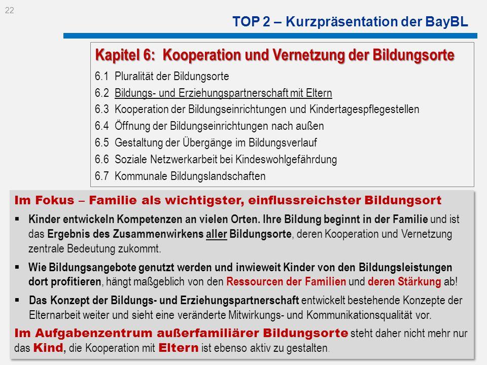 TOP 2 – Kurzpräsentation der BayBL Im Fokus – Familie als wichtigster, einflussreichster Bildungsort Kinder entwickeln Kompetenzen an vielen Orten. Ih