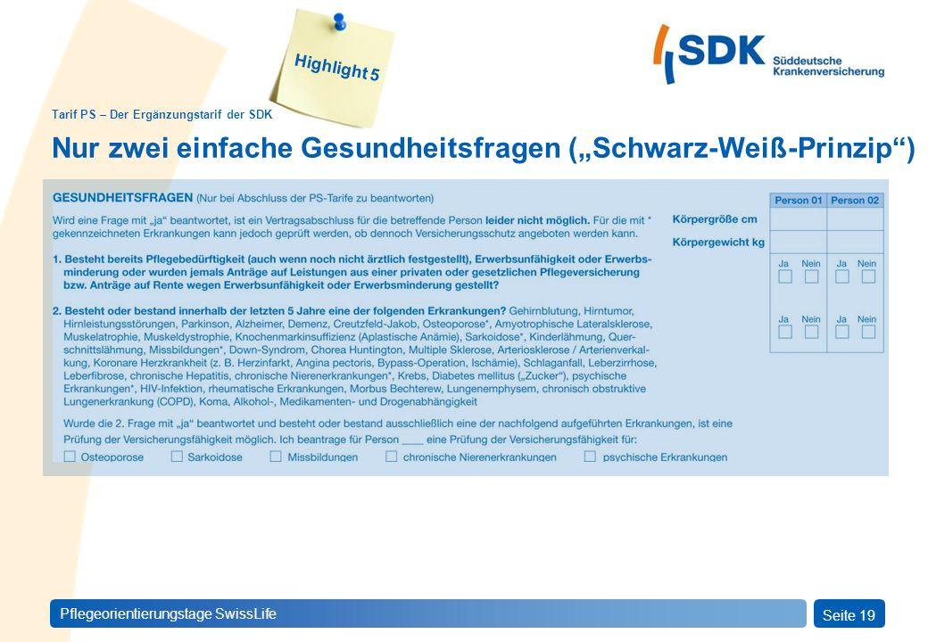 PFLEGEprivatSeite 19 Pflegeorientierungstage SwissLife Tarif PS – Der Ergänzungstarif der SDK Highlight 5 Nur zwei einfache Gesundheitsfragen (Schwarz-Weiß-Prinzip)