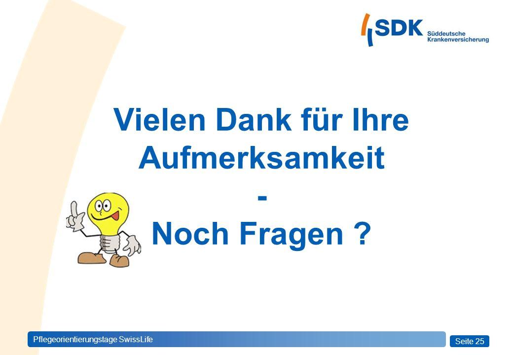 Seite 25 Pflegeorientierungstage SwissLife Vielen Dank für Ihre Aufmerksamkeit - Noch Fragen ?