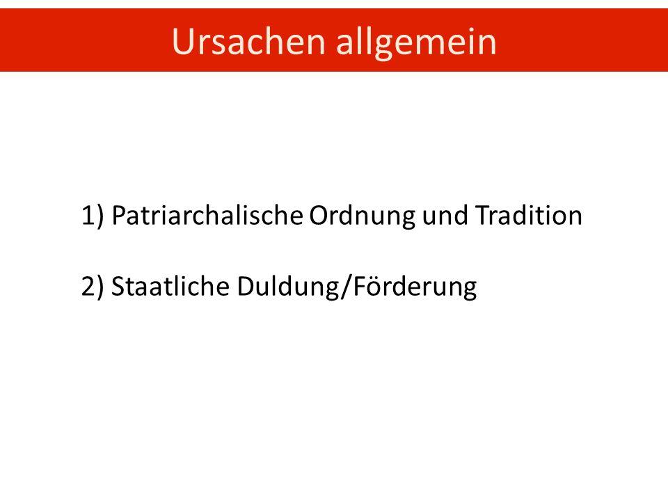 1) Patriarchalische Ordnung und Tradition 2) Staatliche Duldung/Förderung Ursachen allgemein