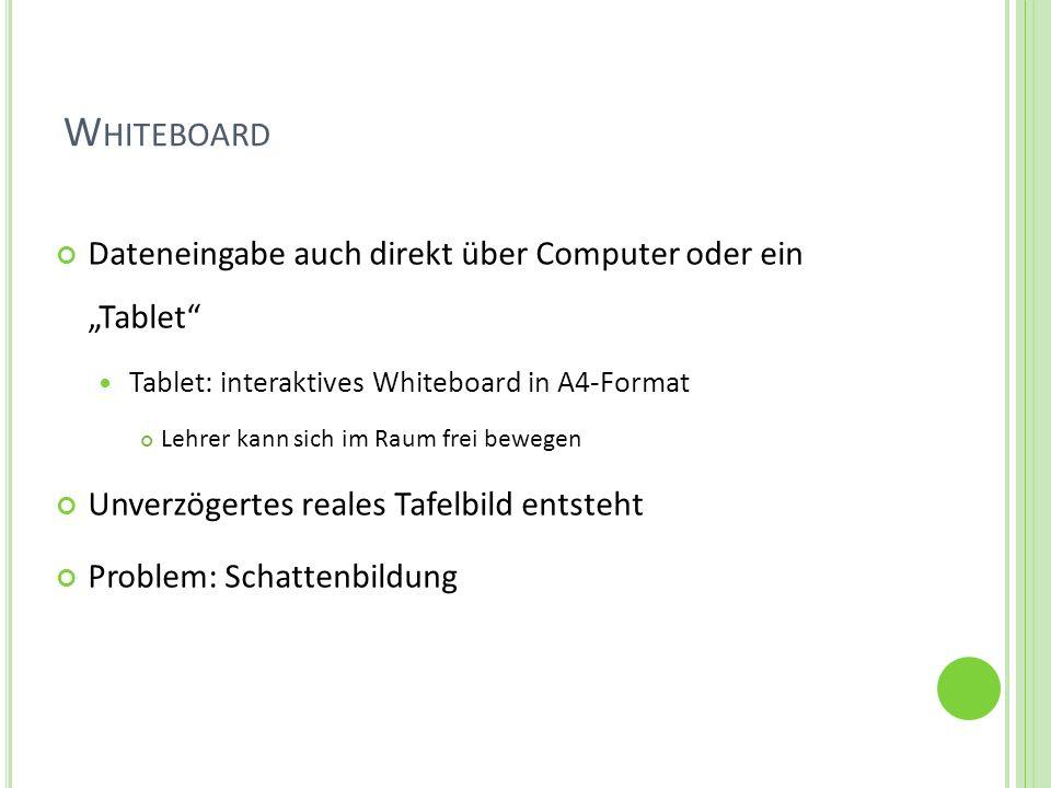W HITEBOARD Dateneingabe auch direkt über Computer oder ein Tablet Tablet: interaktives Whiteboard in A4-Format Lehrer kann sich im Raum frei bewegen