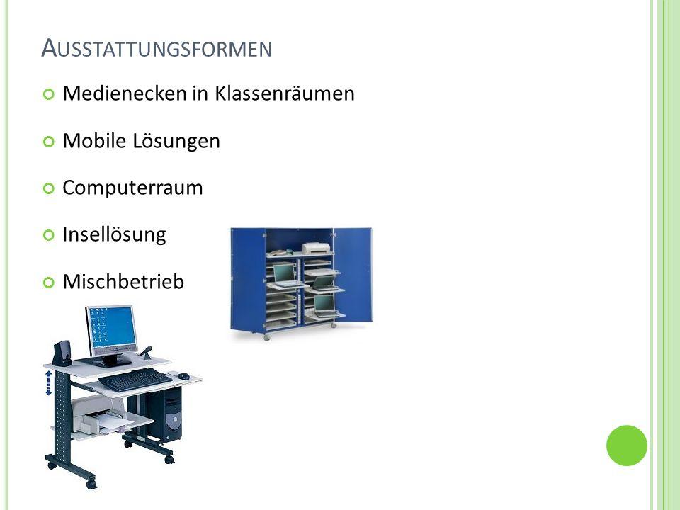 A USSTATTUNGSFORMEN Medienecken in Klassenräumen Mobile Lösungen Computerraum Insellösung Mischbetrieb