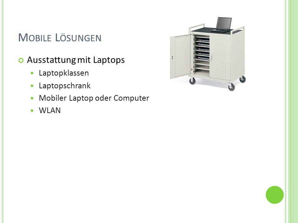 C OMPUTERRAUM 12 - 15 vernetzte Computer Internetzugang Lehrerarbeitsplatz sollte Zugriff auf alle Computer haben Beamer ist wünschenswert, um Unterrichtsinhalte für alle darstellen zu können Drucker sollte über das Netzwerk zur Verfügung stehen