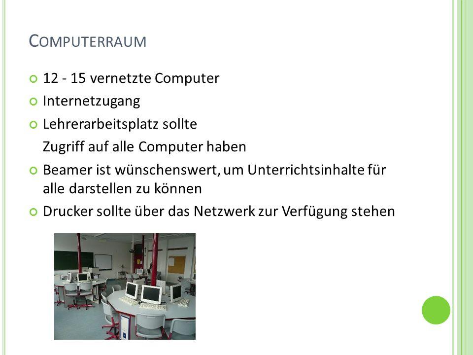C OMPUTERRAUM 12 - 15 vernetzte Computer Internetzugang Lehrerarbeitsplatz sollte Zugriff auf alle Computer haben Beamer ist wünschenswert, um Unterri