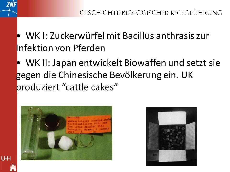 Geschichte biologischer Kriegführung WK I: Zuckerwürfel mit Bacillus anthrasis zur Infektion von Pferden WK II: Japan entwickelt Biowaffen und setzt s