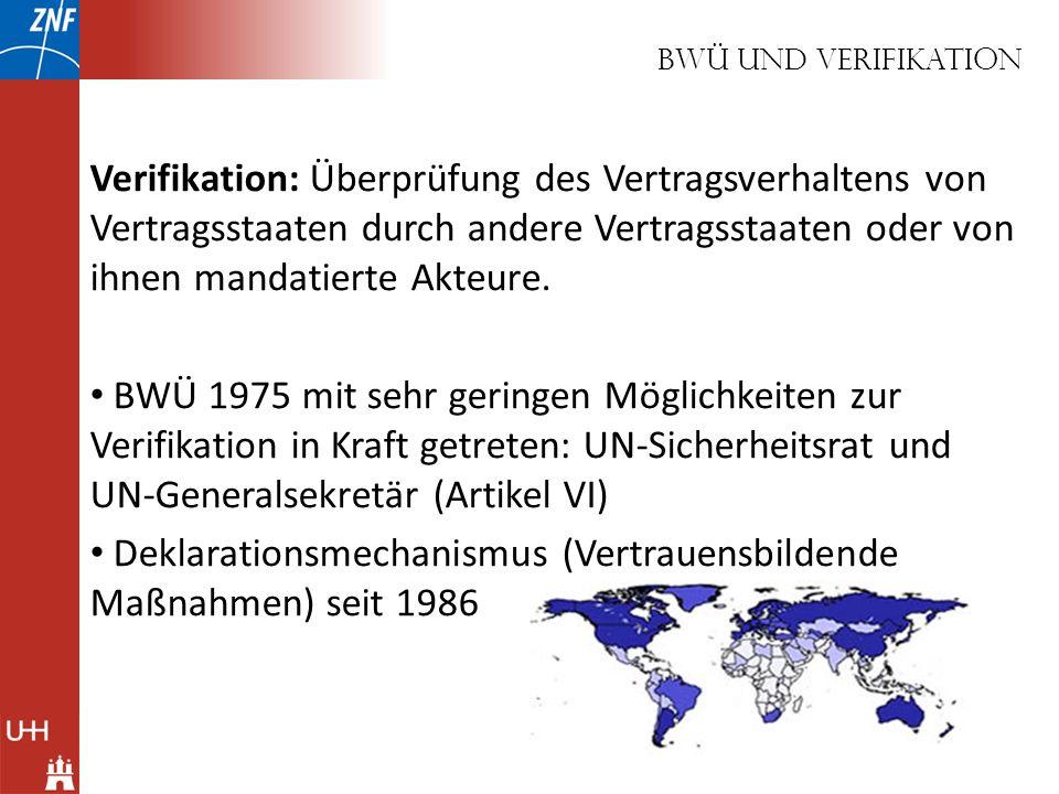 BWÜ und verifikation Verifikation: Überprüfung des Vertragsverhaltens von Vertragsstaaten durch andere Vertragsstaaten oder von ihnen mandatierte Akte