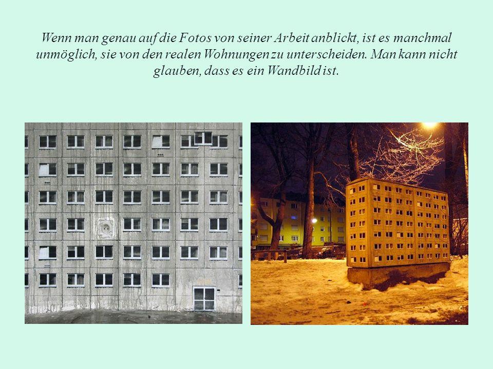 Wenn man genau auf die Fotos von seiner Arbeit anblickt, ist es manchmal unmöglich, sie von den realen Wohnungen zu unterscheiden. Man kann nicht glau
